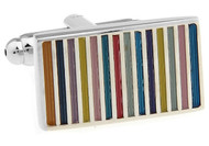 Rectangle Rainbow Cufflinks close up image