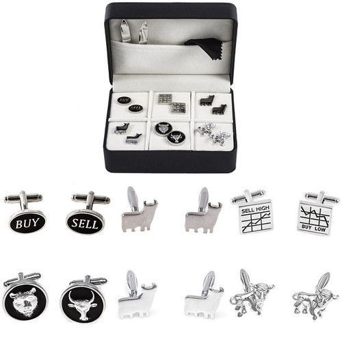 6 pairs wall street stock broker cufflinks gift set; buy sell cufflinks; gun metal bull cufflinks; buy low sell high cufflinks;bull and bear button cufflinks; silver bull cufflinks; running bull cufflinks on display