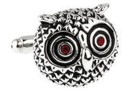 silver Owl cufflinks close up image