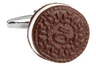 Oreo Cookie Cufflinks; Cookies & Cream Cuff-links close up image