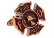 Fire Dept Shield Cufflinks copper tone close up image