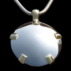 All 14k White Gold Shield with Yellow Gold Tabs - Level Four