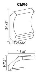 """CM96 Crown Molding 2.5""""H x 96""""L"""
