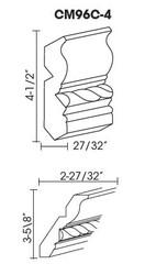 """CM96C-4  Crown Molding Rope Detail   4.5""""H x 96""""L"""