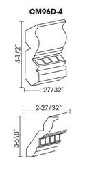 "CM96D-4 Crown Molding Dental Detail 4.5""H x 96""L"