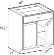 """Castle Grey Shaker  Base Cabinet 24"""" W x 34 1/2"""" H x 24"""" D"""