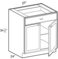 """Castle Grey Shaker Base Cabinet 27"""" W x 34 1/2"""" H x 24"""" D"""