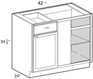 "Castle Grey Shaker  Blind Corner Base Cabinet 42"" W x 34 1/2"" H x 24"" D"