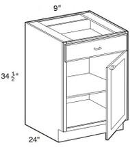 """Castle Grey Shaker Base Cabinet 9"""" W x 34 1/2"""" H x 24"""" D"""
