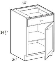 """Castle Grey Shaker  Base Cabinet 18"""" W x 34 1/2"""" H x 24"""" D"""
