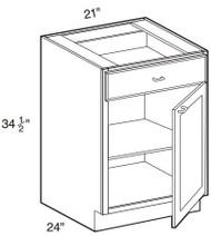 """Castle Grey Shaker  Base Cabinet 21"""" W x 34 1/2"""" H x 24"""" D"""