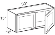 """Castle Grey Shaker  Wall Cabinet 30"""" W x 15"""" H x 12"""" D"""