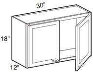 """Castle Grey Shaker  Wall Cabinet 30"""" W x 18"""" H x 12"""" D"""