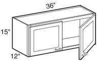 """Castle Grey Shaker Wall Cabinet 36"""" W x 15"""" H x 12"""" D"""