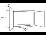 """Castle Grey Shaker Wall Cabinet 36"""" W x 21"""" H x 12"""" D"""