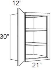 """Castle Grey Shaker  Wall Cabinet 21"""" W x 30"""" H x 12"""" D"""