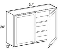 """Castle Grey Shaker  Wall Cabinet 33"""" W x 30"""" H x 12"""" D"""