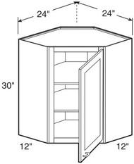 "Castle Grey Shaker  Wall Diagonal Corner Cabinet 24"" W x 30"" H x 12"" D"
