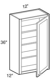 """Castle Grey Shaker  Wall Cabinet 12"""" W x 36"""" H x 12"""" D"""