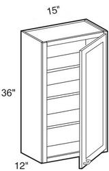 """Castle Grey Shaker  Wall Cabinet 15"""" W x 36"""" H x 12"""" D"""