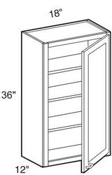 """Castle Grey Shaker  Wall Cabinet 18"""" W x 36"""" H x 12"""" D"""