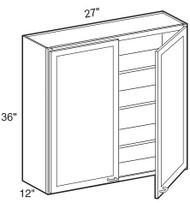 """Castle Grey Shaker  Wall Cabinet 27"""" W x 36"""" H x 12"""" D"""