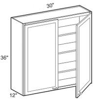 """Castle Grey Shaker  Wall Cabinet 30"""" W x 36"""" H x 12"""" D"""