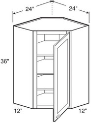 "Castle Grey Shaker  Wall Diagonal Corner Cabinet 24"" W x 36"" H x 12"" D"