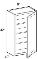"""Castle Grey Shaker  Wall Cabinet 09"""" W x 42"""" H x 12"""" D"""
