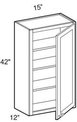 """Castle Grey Shaker  Wall Cabinet 15"""" W x 42"""" H x 12"""" D"""