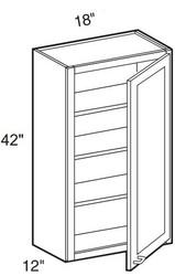 """Castle Grey Shaker  Wall Cabinet 18"""" W x 42"""" H x 12"""" D"""
