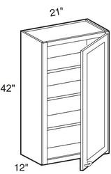 """Castle Grey Shaker   Wall Cabinet 21"""" W x 42"""" H x 12"""" D"""