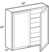 """Castle Grey Shaker  Wall Cabinet 30"""" W x 42"""" H x 12"""" D"""