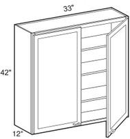 """Castle Grey Shaker   Wall Cabinet 33"""" W x 42"""" H x 12"""" D"""