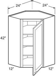 "Castle Grey Shaker   Wall Diagonal Corner Cabinet 24"" W x 42"" H x 12"" D"