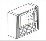 "Castle Grey Shaker   Lattice Wall  Glass Cabinet 36"" W x 51"" H x 18"" D"