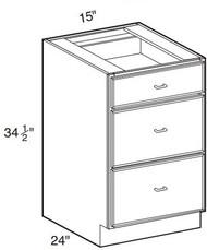 "Hazel Maple   Base Drawer Cabinet   15""W x 24""D x 34 1/2""H  DB15-3"