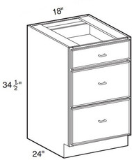 "Hazel Maple    Base Drawer Cabinet   18""W x 24""D x 34 1/2""H  DB18-3"