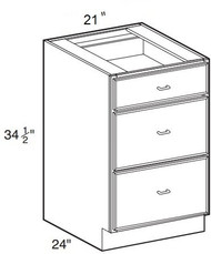 "Hazel Maple   Base Drawer Cabinet   21""W x 24""D x 34 1/2""H  DB21-3"