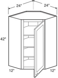"Hazel Maple   Wall Diagonal Corner Cabinet   24""W x 12""D x 42""H  WDC2442"