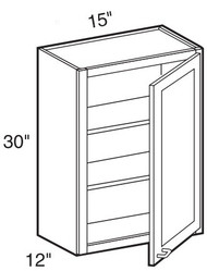 """Smoky Gray   Wall Cabinet   15""""W x 12""""D x 30""""H  W1530"""