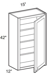 """Smoky Gray   Wall Cabinet   15""""W x 12""""D x 42""""H  W1542"""