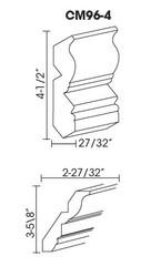"""CM96-4   Crown Molding 4.5""""H x 96""""L"""