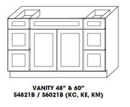 "Vanity Base Cabinet Center Sink  48""W x 21""D x 34.5""H  S4821B"