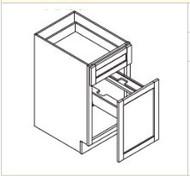 "Castle Grey Shaker  Waste Basket Base Cabinet 15"" W x 34 1/2"" H x 24"" D"