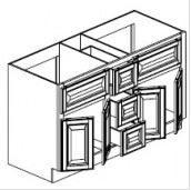 "Mocha Maple Glaze Vanity Base Cabinet Double Sink  60""W x 21""D x 33""H  FA6021DD"