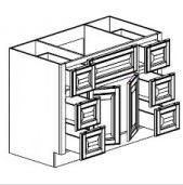 "Mocha Maple Glaze Vanity Base Cabinet Center Sink  60""W x 21""D x 33""H  FA6021D"
