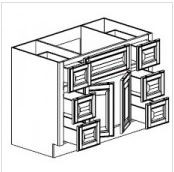 "Gregi Maple Vanity Base Cabinet Center Sink  48""W x 21""D x 33""H  FA4821D"