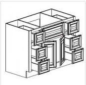 "Mocha Maple Glaze Vanity Base Cabinet Center Sink  48""W x 21""D x 33""H  FA4821D"