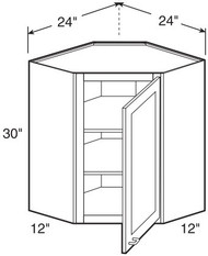 "Black Coffee Maple Wall Diagonal Corner Cabinet   24""W x 12""D x 30""H  WDC2430"